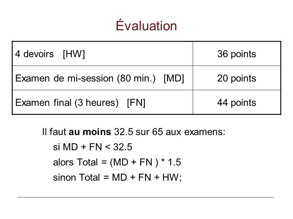 Évaluation 4 devoirs [HW] 36 points